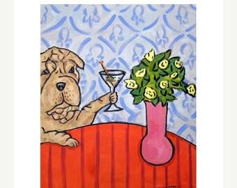 20 % off storewide Shar Pei at the Martini Bar Dog Art Print  JSCHMETZ modern americana folk pop