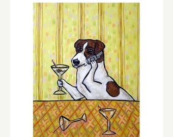 20 % off storewide Jack Russell Terrier at the Martini Bar Dog Art Print
