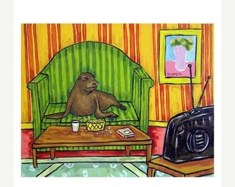 20 % off storewide Sea Lion Watching Television in a Living Room Animal Art Print