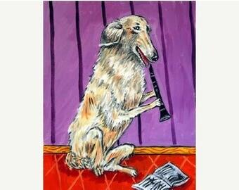 20 % off storewide Borzoi Playing the Clarinet Dog Art Print