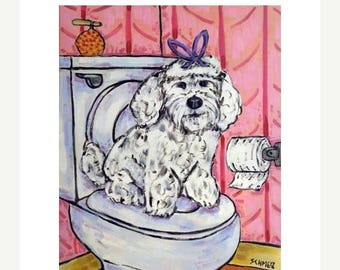 20% off storewide Maltese in the Bathroom Dog Art Print
