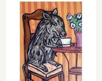 20% off storewide Pig at the Coffee Shop Art PRINT 11x14 JSCHMETZ modern abstract folk pop art american ART gift