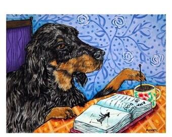 20% off storewide Gordon Setter at the Coffee Shop Dog Art Print