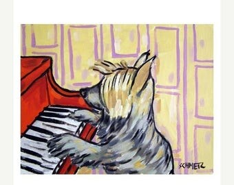 20% off storewide Silky Terrier Playing Piano Dog Art Print