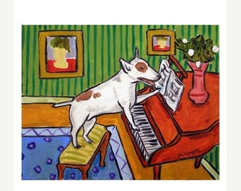 20% off Bull Terrier Playing the Piano Dog Art Print  JSCHMETZ modern abstract folk pop art american ART gift