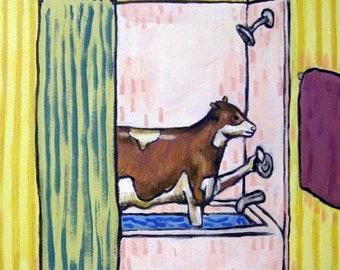 20% off Cow Taking a Bath Animal Art tile Coaster gift pop art folk art modern JSCHMETZ