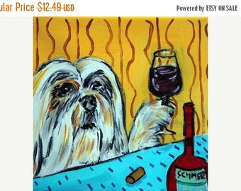 20% off Lhasa Apso at the WIne Bar Dog Art Tile Coaster Gift