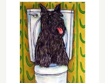 Scottish Terrier in the Bathroom Dog Art Print