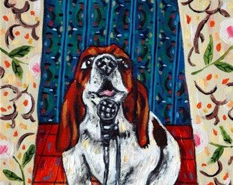 Basset Hound Hunde - Hund Kunstdruck, Basset Hound, drucken, Hund, Hund der Hund Druck, moderne Kunst, moderne Volkskunst, Pop-Art, Geschenk Plakat