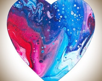 Heart shaped painting Wooden Heart wall art wall decor wall hangings Acrylic Impasto colourful fluid art red blue turquoise by QIQIGallery