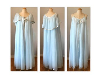 Vintage 60s Flowing Chiffon Peignoir L Baby Blue Negligee and Dressing Gown