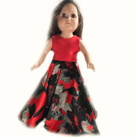 """Full Length Party Dress with Circular Skirt for American Girl and other 18"""" Dolls"""