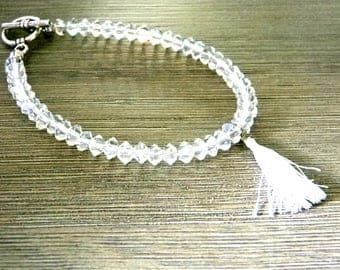 Clear Glass Beaded Tassel Bracelet Toggle Clasp