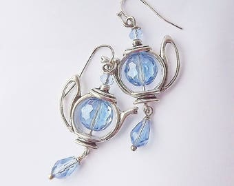 Blue Teapot Earrings,  Crystal, Silver Tea Pot Earrings, Teapot Earrings, Teapot Dangle Earrings, Tea Party Gift, Shower Favor