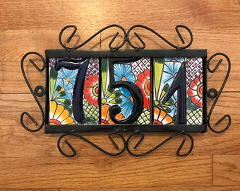 3 Talavera Tile Table numbers with tile holder address home Spanish style address numbers Mexican Mexico