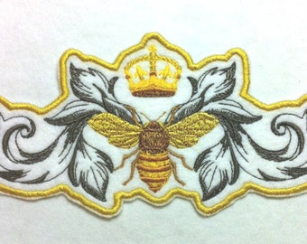 """Stunning Napoleonic Bee and Crown Iron on Embroidered Patch Applique - 7.5"""" x 3.8"""" -  FREE U.S. Shipping"""