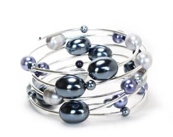 HALF PRICE SALE Black silver and lavender pearl memory wire spiral bracelet