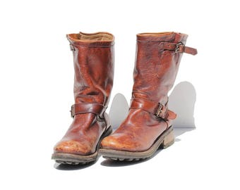 Vintage Rust Brown Leather Pull on Boots / size 8.5
