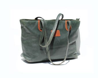 Vintage Italian Peale Green Leather Tote Bag