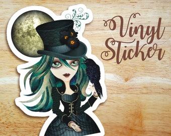 Raven's Moon Die Cut Vinyl Sticker, Gothic Girl Sticker, Snail Mail, Postcrossing Gift