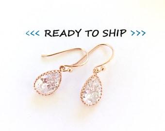 RTS Small Rose Gold Rhinestone Earrings, Rose Gold wedding earrings, rose gold Bridesmaid Earrings, bridal earrings, wedding jewelry, pink g