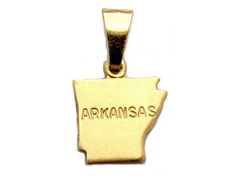 """Arkansas State Necklace.  Raw Brass.  18"""" Gold Chain. Tiny."""