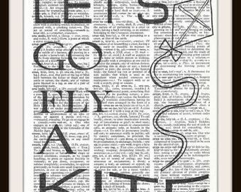 Let's go fly a Kite-Vintage Dictionary Art Print---Fits 8x10 Mat or Frame