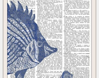 Ocean Tropical Fish Nautical- Blue Vintage Dictionary Art Print-Fits 8x10 Mat or Frame