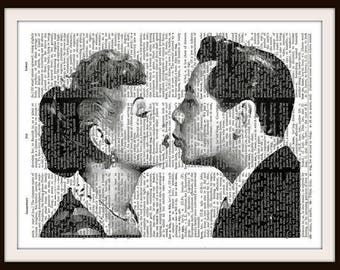 Lucy & Ricky Kiss--Desi Arnaz -I love Lucy-Lucille Ball- - Vintage Dictionary Art Print--Fits 8x10 Mat or Frame