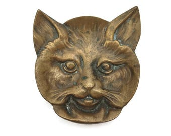 Mid Century Brass Cat Ashtray Trinket Dish - Figural Tobacciana
