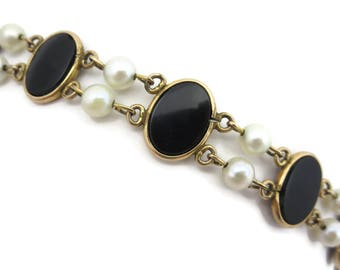 Black Onyx Bracelet - Bezel Set Stones Pearls 12k Gold Fill