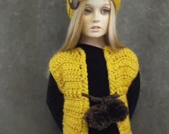 Toddler Vest Set,Beanie,Gold,Mustard,Brown,1 to 2 yr old,girls,Clothing,Children,Crochet,Tam,