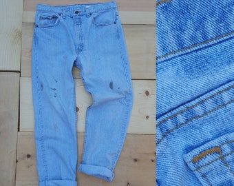 """Vintage Levi's 505 Jeans  //  Vtg 90s Levis Made in the USA Distressed Light Wash Denim Jeans w/ Paint Stains //  34"""" waist"""