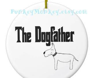 The Dogfather ornament dog dad pet ornament personalized ornament Christmas ornaments custom ceramic ornament rescue adoption dog lover
