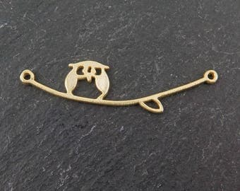 Gold over 925 Sterling Silver Owl on Branch Connector 36mm (CG7632)