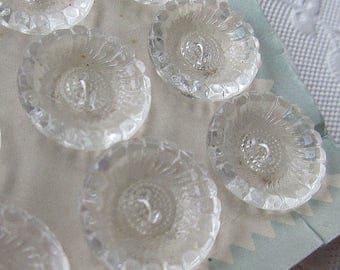 6 Vintage 1970s Czech Glass Buttons Handmade Clear Glass Czechoslovakia  #61