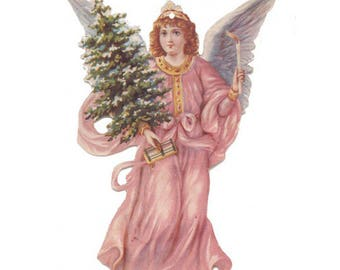 3 Pink Angel with Tree Double-Sided Paper Christmas Ornaments ~ Old Store Stock USA  OPF009