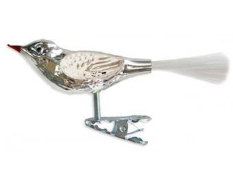 """Silver with Matte White Clipping Glass Christmas Bird Ornament ~ Germany ~ 3-3/4"""" long HLC50MW"""