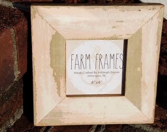 4 x 4  PINK old vintage wood picture frame