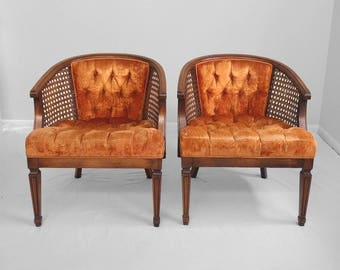 2 HOLLYWOOD REGENCY tufted orange velvet cane accent chairs Shipping Special