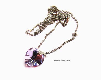 Purple Crystal Heart Pendant Necklace, Silver Chain