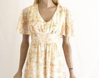Vintage 70's Gauze Cotton Romantic Hippie Dress