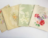Vintage  Wallpaper Sample Sheets with Large Center Floral Designs in Pastel Colors, 1940's Papers,  Scrapbooks, Collage Papers, Journal Page