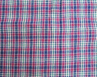 Vintage Fabric,Vintage 1970's Cotton Homespun Small Check Plaid Fabric in Wine Red, Navy, Beige