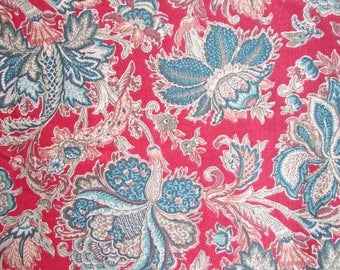 Barkcloth Vintage Decor Fabric, 1980's Fabric with Large Floral Design in Teal BlueGreen, Browns and Wine Red, Tablecloth, Holiday Decor