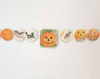Jack o Lantern, Pumpkin, Halloween Theme Paper Story Book Garland, Paper Banner, Wall Garland, Party Decoration, Child's Room Decor