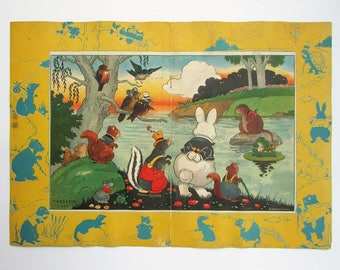 1922 Harrison Cady Peter Rabbit & Thornton Burgess Woodland Animal Characters Center Fold Bookplate Illustration, Print, Childs Room Decor