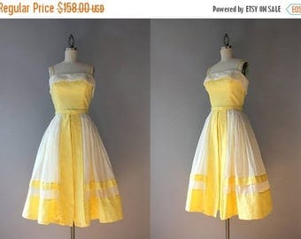 STOREWIDE SALE Vintage 50s Dress / 1950s Dotted Swiss and Organdy Peggy Hunt Sundress / 50s Sunny Yellow Sundress XS extra small
