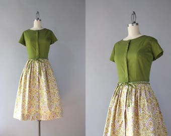 Vintage Swirl Dress / 1960s Swirl Dress / Early 60s Full Skirt Bow Belt Printed Cotton Dress S/M small medium