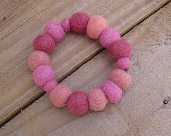 Felt Beads Bracelet - Pink Wool Fabric Cuff